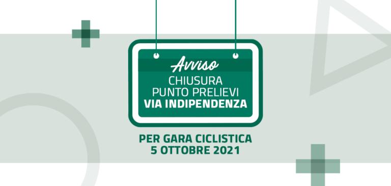 Read more about the article 5 Ottobre chiusura punto prelievi via Indipendenza